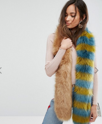 Asos Contrast Faux Fur Scarf in Natural and Stripe