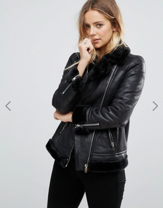 Asos Glamorous Aviator Biker Jacket With Faux Shearling Lining