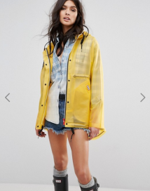 Asos Hunter Womens Original Festival Raincoat yellow