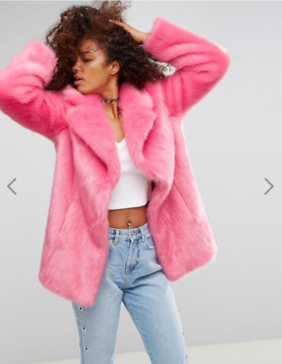 Asos Pink Faux Fur Coat