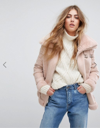 Asos River Island Faux Shearling Aviator Jacket